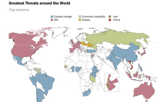 Color coded map displaying the greatest threats around the world